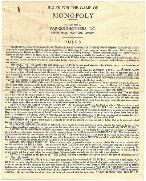 Printable Monopoly Directions | monopoly original rules www pixshark com images