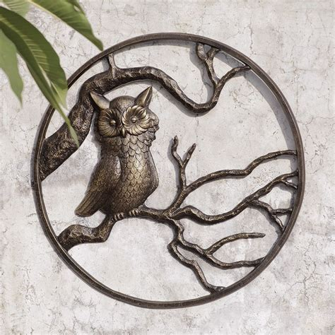 Owl Garden Wall Art Hanging Decor Metal Hoot Owl Bird Garden Wall Sculptures