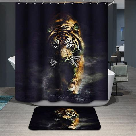 tiger shower curtain elephant tiger shower curtain waterproof lion bathroom