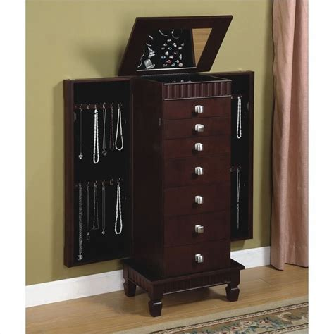 contemporary jewelry armoire powell merlot contemporary jewelry armoire 383 316