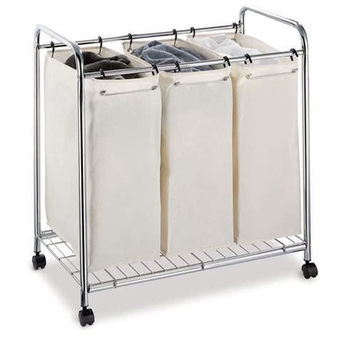 three section laundry sorter her canvas rolling triple sorter laundry her from
