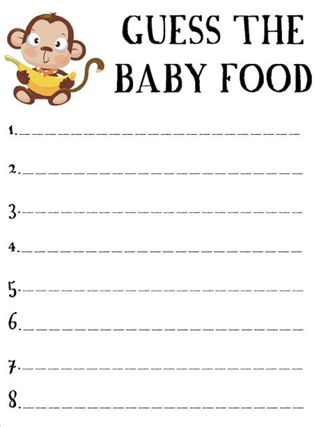 baby food guessing template forever the hostess monkey baby shower