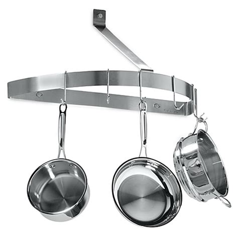 Half Circle Pot Rack cuisinart 174 brushed stainless steel half circle wall pot rack bed bath beyond
