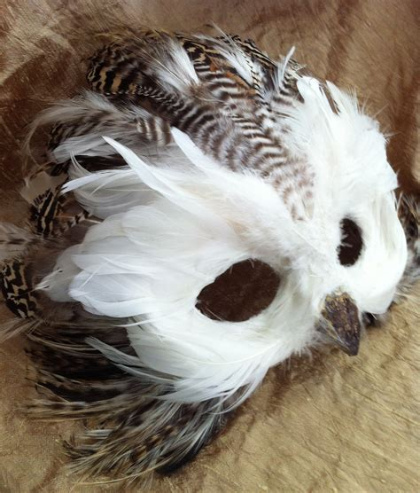 Handmade Animal Masks - snow owl specialty custom animal masks by maskedenchantment