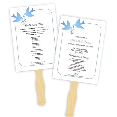 wedding fan template wedding program fan template blue doves silhouette diy