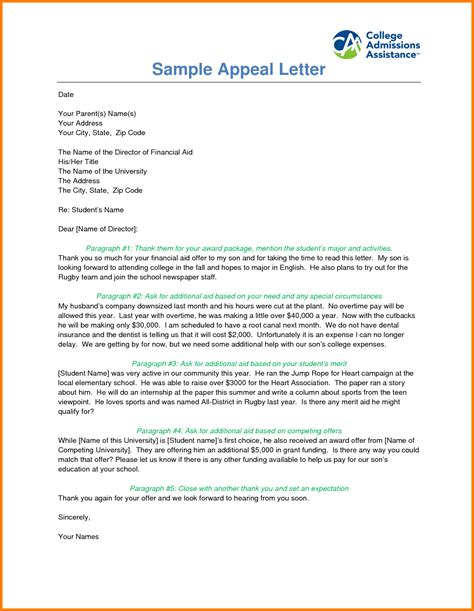 Appeal Letter For Financial Aid Examples