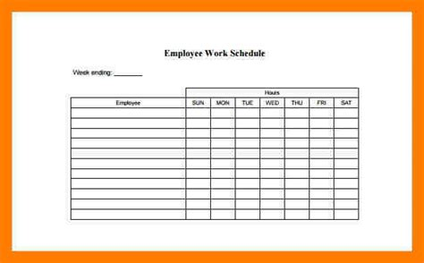 printable employee schedule template 5 employee schedules templates teller resume