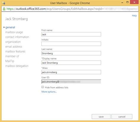 Office 365 Portal New User Office 365 Change The Alias Attribute Of An Exchange