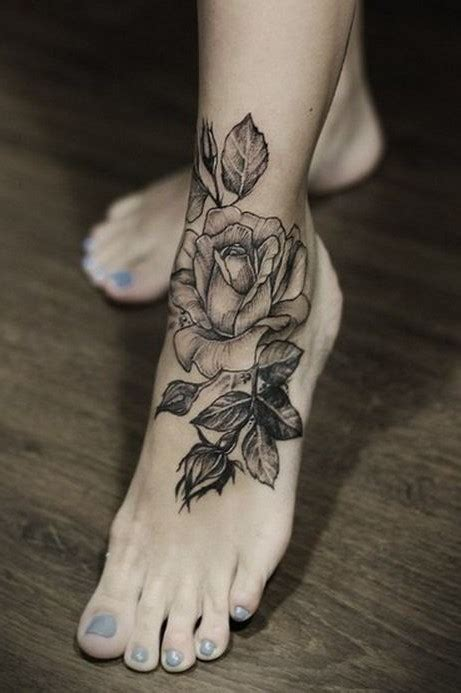 wonderful rose foot tattoo black and white new flower