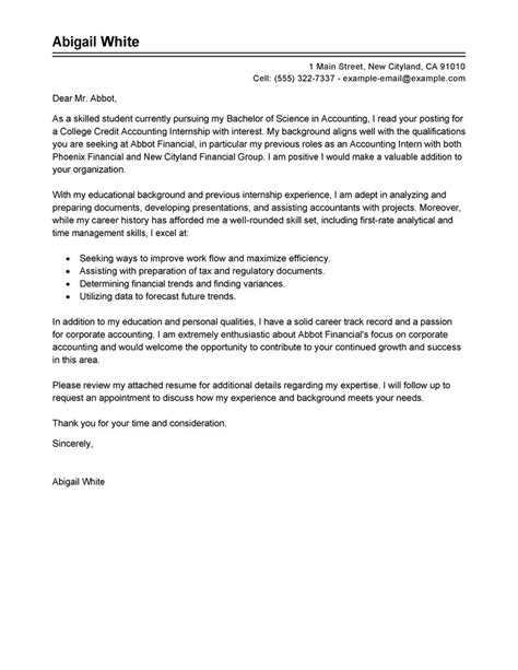 cover letter for accounting internship internship college credits cover letter exles