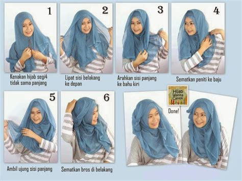 tutorial hijab paris beserta keterangan 4 gambar tutorial hijab paris segi 4 terbaru 2017