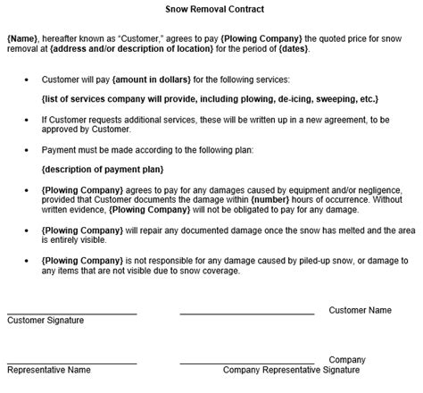 residential snow removal contract template snow removal contract template
