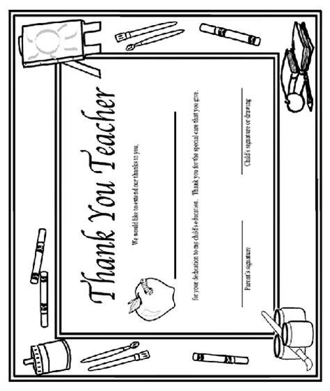 printable thank you cards to color for teachers thank you teacher certificate coloring page crayola com