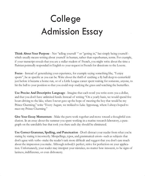 Exle Of Essay For College Application by Sle College Essay 8 Exles In Word Pdf