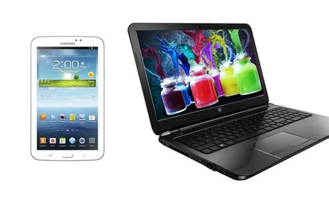 Hp Samsung Tab 4 Lite hp laptop and samsung galaxy tab 3 lite bundle groupon