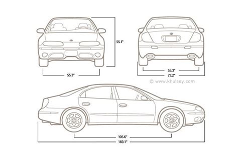 car dimensions in feet technical line art and line drawings