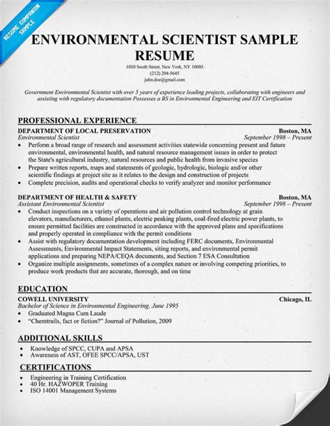 Resume Exles For Environmental Resume Format Resume Exles Environmental Science