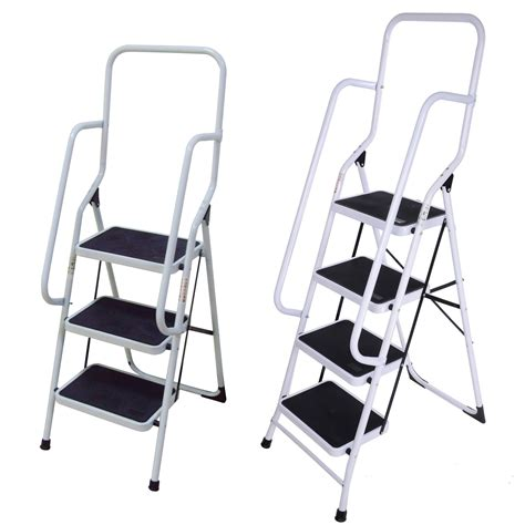 Safety Steps With Handrail foldable non slip 2 3 4 step steel ladder tread stepladder safety handrail rail ebay