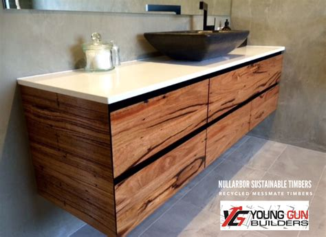Ideas For Bathroom Vanities recycled timber nullarbor sustainable timber benchtops