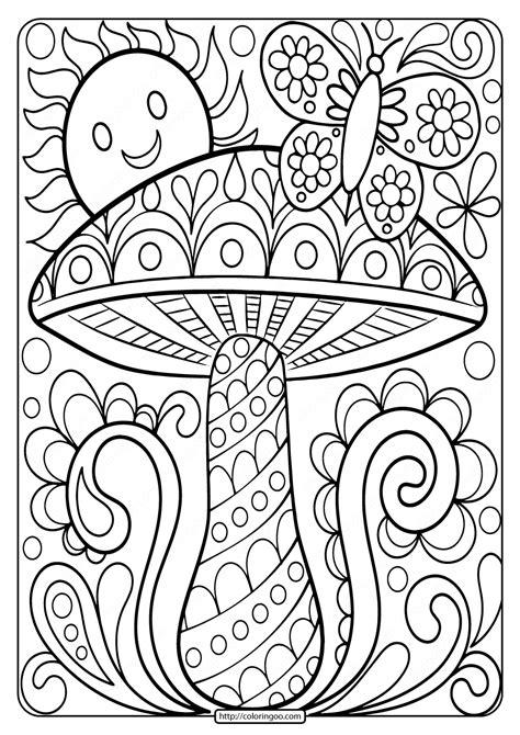 Free Printable Mushroom Adult Coloring Page