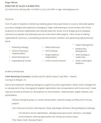 Director Of Sales And Marketing by Sle Sales And Marketing Resume 7 Exles In Word Pdf
