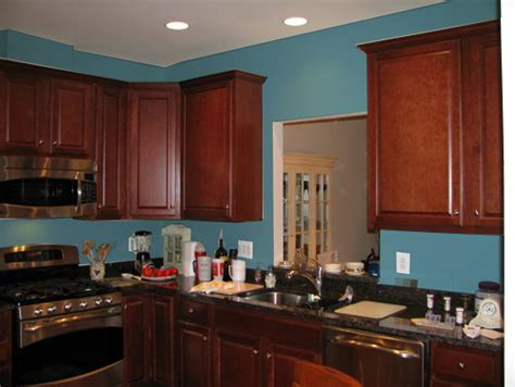 paint colors for kitchen walls with cherry cabinets blue kitchen cherry cabinets quicua
