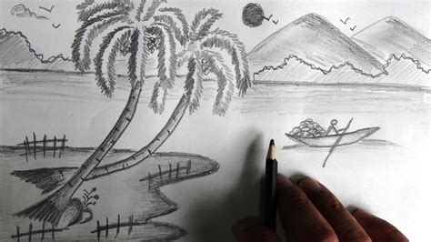 easy landscape drawing for beginners images