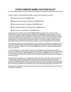 vacation policy template amp sample form biztree com