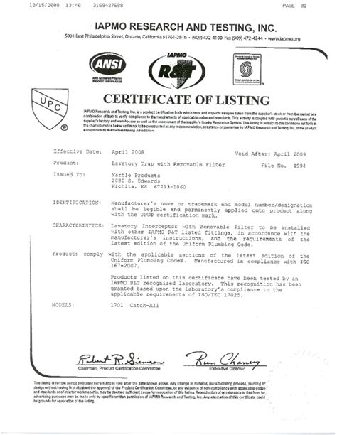 Plumbing Industry Commission Certificate Compliance by Universal Hair Trap