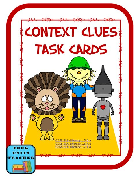picture books to teach context clues context clues task cards book units