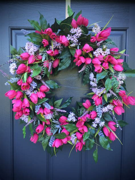 spring wreath pink tulip wreath spring wreaths tulip door wreaths spring