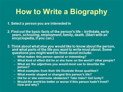 sle biography template for students how to write biography and autobiography biography
