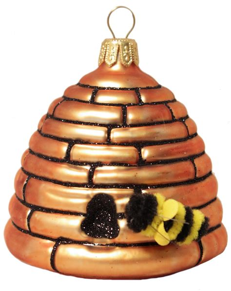 xgg61 37484 large beehive honey bee polish glass christmas