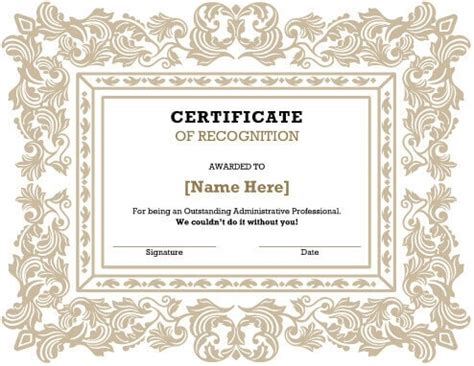 Free Template For Certificate Of Recognition by Certificate Of Recognition Template