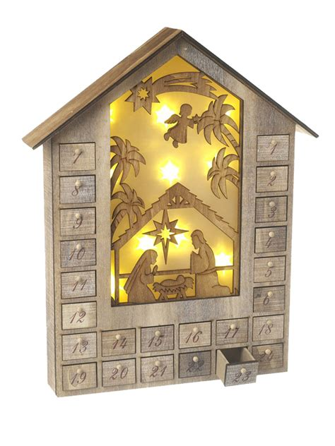 wooden nativity advent calendar with drawers wooden led pre lit advent calendar traditional christmas