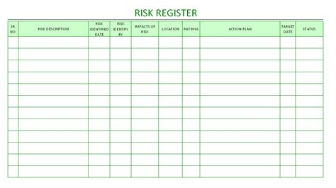 hazard risk register template risk register