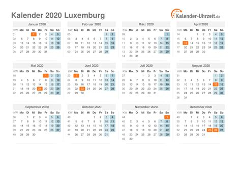 feiertage  luxemburg kalender uebersicht