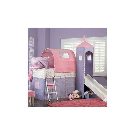 princess castle loft bed and slide with tent and slide