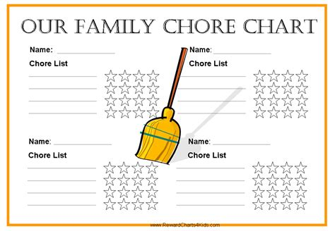 family chore chart template free free family chore chart