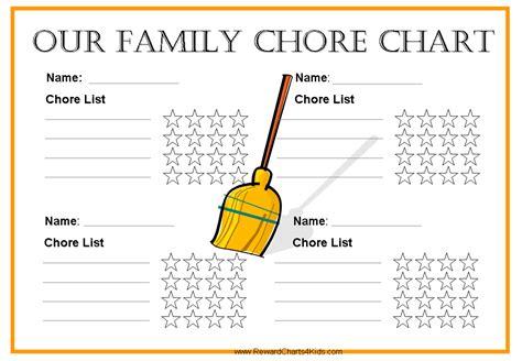 free chore chart template free family chore chart