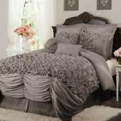 lush decor lucia gray comforter set 4 piece queen size set