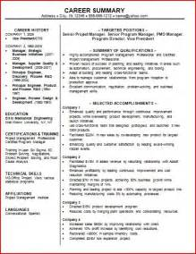 Sample Career Summary For Resume summary examples recentresumes for professional summary example