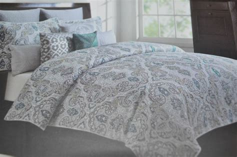 tahari bedding tahari queen paisley floral medallion teal grey green white 6 pc comforter set bedding