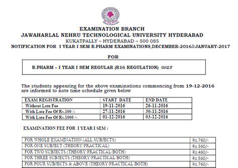 Jntu Mba 1st Sem Results 2016 by B Tech 1 1 R16 Regular Fee Official Notification