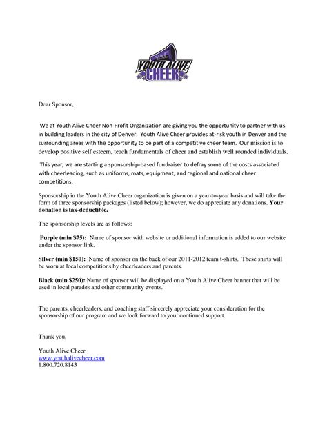 Sponsorship Letter Cheerleading Cheerleading Sponsorship Letter Sle