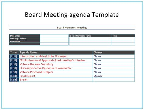 board meeting agenda template free agenda templates for meetings pics free meeting