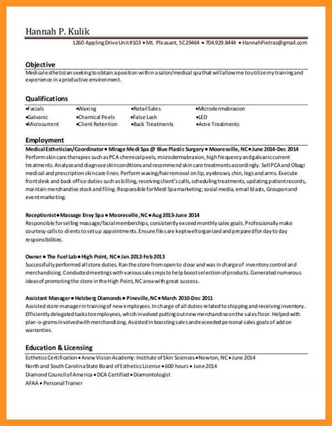 esthetician resume no experience apa proposal