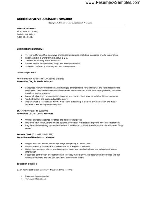 resume template for administrative position administrative assistant resume template docs