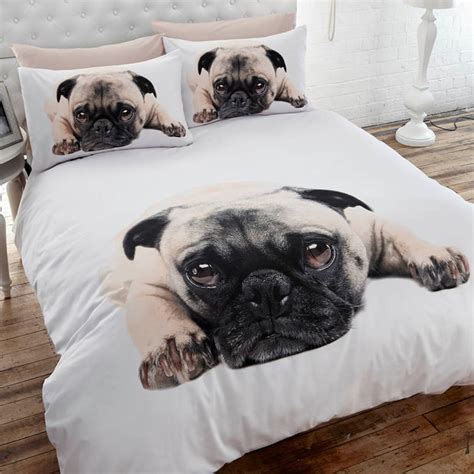 pug duvet set pug single bedding and sad looking pug bed set from our photographic range