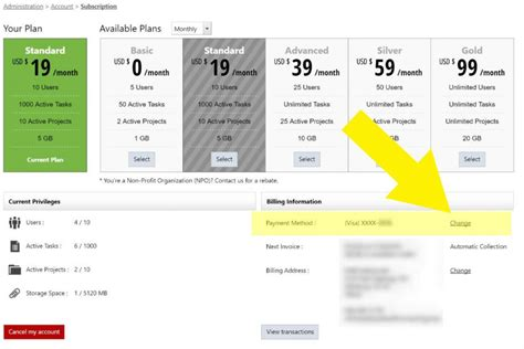 Billing Section by How Do I Change Credit Card Payment Information